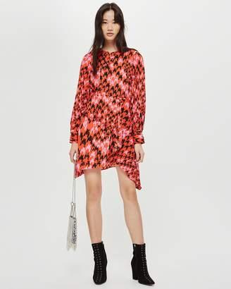 Topshop Houndstooth Asymmetric Shift Dress