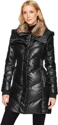 French Connection Women's Down Coat with Faux-Fur Collar