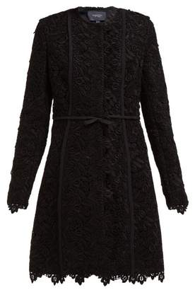 Giambattista Valli Bow Trim Cotton Blend Guipure Lace Coat - Womens - Black