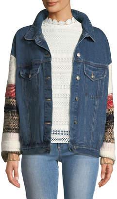 Lumie Sweater-Sleeve Denim Jacket