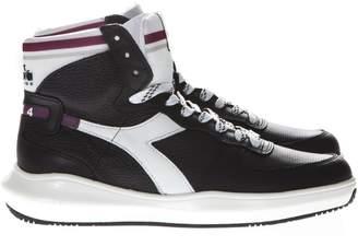 Diadora Heritage Mi Basket H Mds In Black Leather Sneakers
