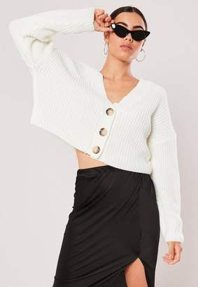Missguided Cream Boxy Button Crop Cardigan