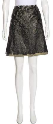 Tomas Maier Coated Lace Knee-Length Skirt