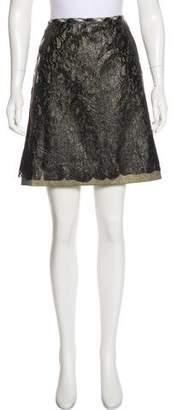 Tomas Maier Coated Lace Knee-Length Skirt