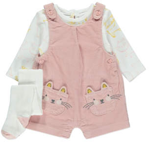 George Pink Corduroy Dungarees and Bodysuit Set