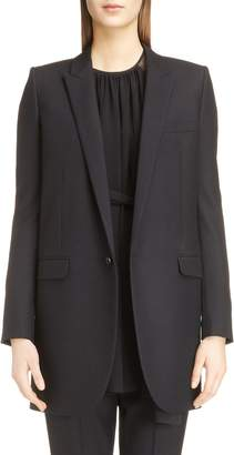 Saint Laurent Long Gabardine Tuxedo Blazer