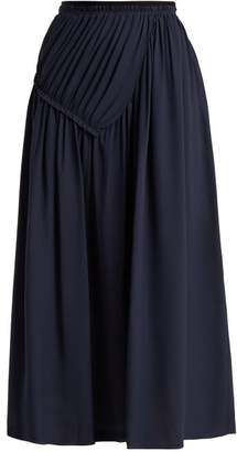 Joseph Collins Draped Silk Skirt - Womens - Navy