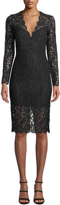 Bardot Midnight Lace Long-Sleeve Cocktail Dress