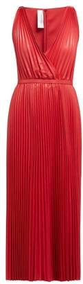 Valentino V Neck Pleated Leather Gown - Womens - Red