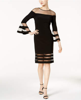Betsy & Adam Illusion-Stripe Sheath Dress