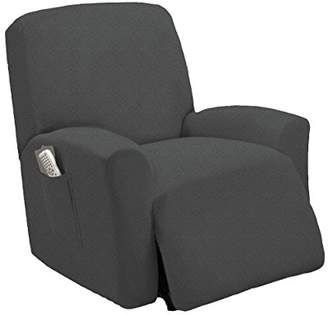 Golden Linens One piece Stretch Recliner Chair Furniture Slipcovers with Remote Pocket Fit most Recliner Chairs (Gray)