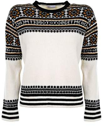 RED Valentino Black, white and yellow virgin wool Forget Me Not sweater