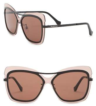 Balenciaga 57mm Square Cat Eye Browbar Sunglasses