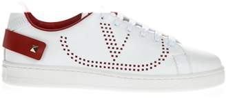 Valentino Red & White Backnet Leather Sneaker