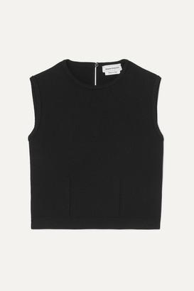 Alexander McQueen Cropped Stretch-knit Tank - Black