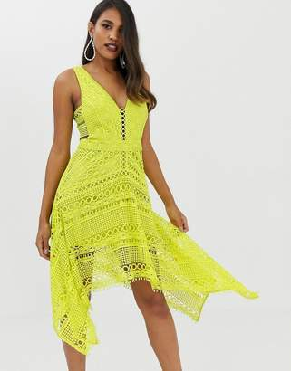 Asos Design DESIGN pinny bodice circle lace asymmetric hem midi dress