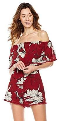 Plumberry Women's Off Shoulder Romper Summer Boho Floral Print Playsuit Shorts