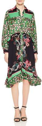 Sandro Duel Floral Print & Color Blocked Dress