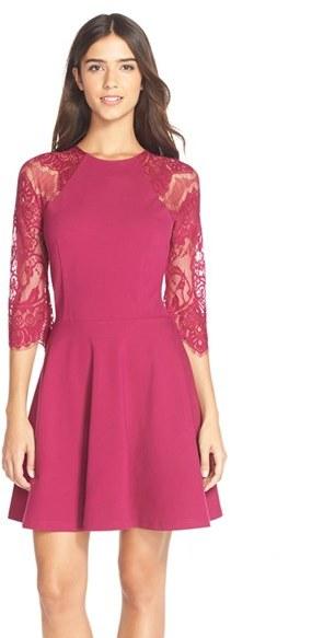 Women's Bb Dakota 'Yale' Lace Panel Fit & Flare Dress