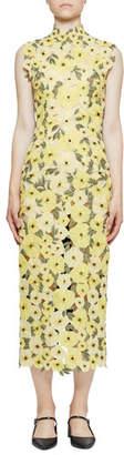 e742c66a96e Erdem Floral-Embroidered Organza Mock-Neck Midi Dress