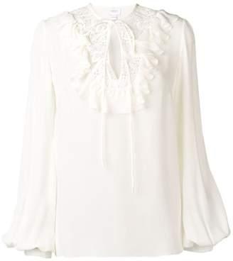 9513d131cc289 Giambattista Valli embroidered tie neck keyhole blouse