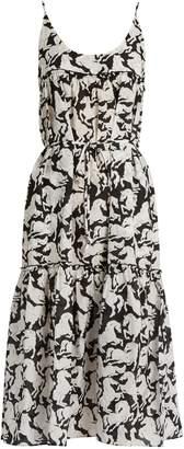 STELLA MCCARTNEY Running Horses-print cotton-blend midi dress $338 thestylecure.com