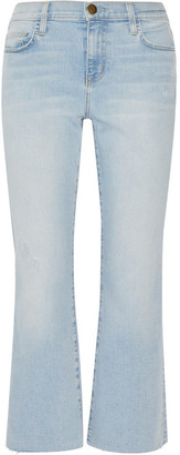 Current/Elliott - The Kick Cropped Distressed Mid-rise Flared Jeans - Light denim $230 thestylecure.com