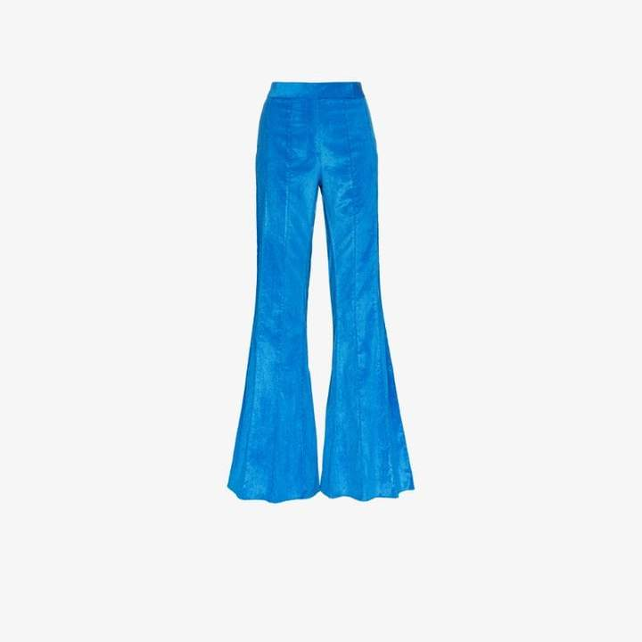 corduroy pleated flare trousers