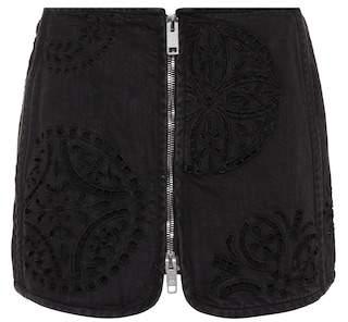 Isabel Marant Rilzen embroidered denim miniskirt