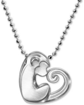 """Alex Woo Little Activist Love Monkey Charm 16"""" Pendant Necklace in Sterling Silver"""