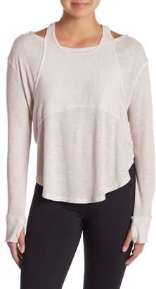 Free People Zenith Cold Shoulder Long Sleeve Rib Knit Shirt