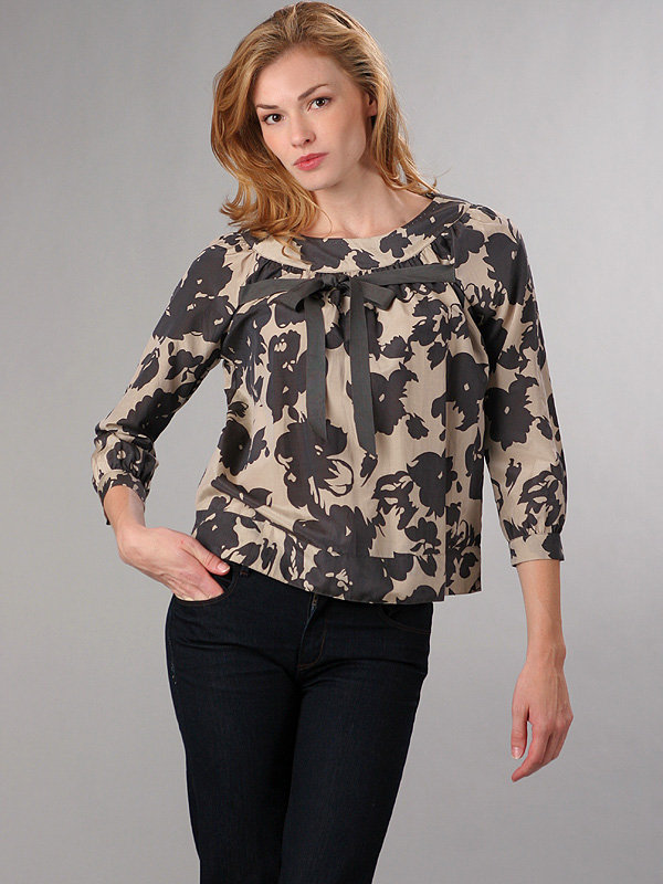Graham & Spencer Midnight Rose Long Sleeve Tie Top