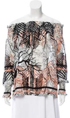 Yigal Azrouel Silk Blend Patterned Top