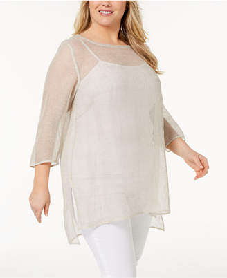Eileen Fisher Plus Size Organic Linen Mesh Sheer Tunic