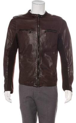 Prada Sport Leather Knit-Accented Cafe Racer Jacket