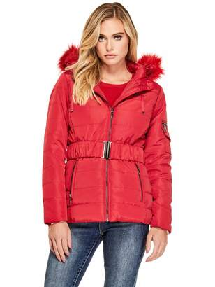 Factory Guess Women's Delana Belted Puffer Coat