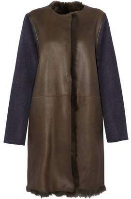 Yves Salomon Wool And Cashmere-Blend Paneled Shearling Coat