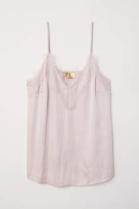 H&M Satin and Lace Camisole Top - Pink
