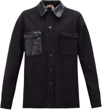 No.21 No. 21 - Pvc Collar Wool Blend Jacket - Womens - Black