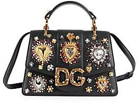 Dolce & Gabbana Women's Small Amore Embellished Leather Top Handle Bag