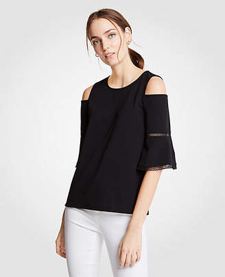 Ann Taylor Petite Eyelet Trim Cold Shoulder Top