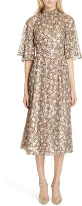 Kate Spade floral park metallic detail silk blend midi dress
