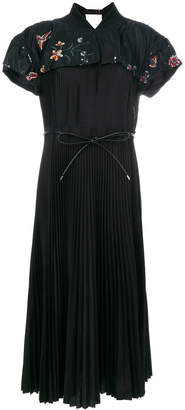 Sacai embroidered pleated dress