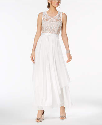 R & M Richards Belted Embroidered Mesh Gown