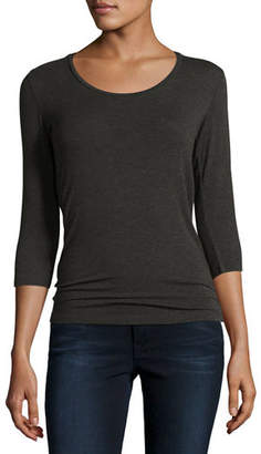 Neiman Marcus Majestic Paris for Soft Touch 3/4-Sleeve Scoop-Neck Tee