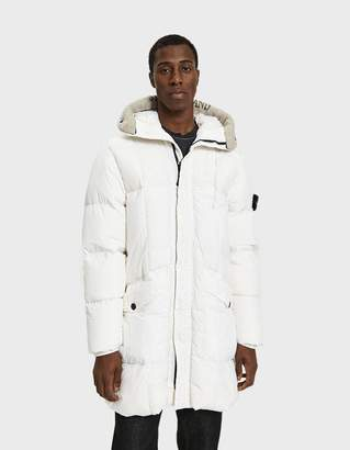 Stone Island Garment Dyed Crinkle Reps NY Long Coat in White