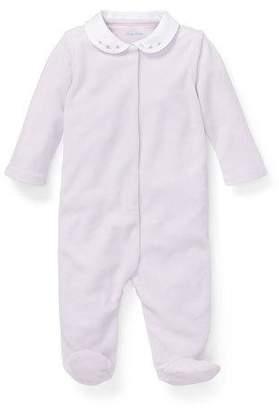 Ralph Lauren Childrenswear Peter Pan-Collar Footie Pajamas, Size 3-9 Months