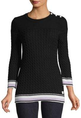 Tommy Hilfiger Cable Knit Sweater with Contrast Trim