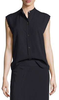 Helmut Lang Sleeveless Back-Knot Poplin Shirt, Black $345 thestylecure.com
