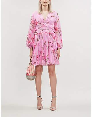 Giambattista Valli Floral-print ruffled silk mini dress